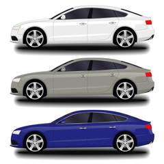realistic car. sport sedan set