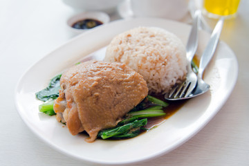 Baked chicken with rice and vegetable