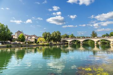 Cognac, France. Scenic landscape with a bridge across the Charente River