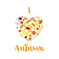 Colorful patterned autumn leaves in a heart shape. Creative autumn concept.
