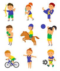 Cartoon sport kids. Vector illustration for 2016 brazil olympic game