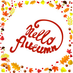 Hello autumn! Card design elements. Vector illustration.