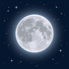 Realistic full moon. Detailed vector illustration