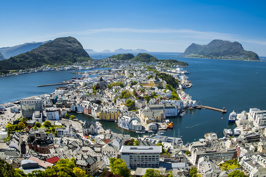 Alesund, city on the fjords in Norway