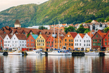 Printed roller blinds Scandinavia View of historical architecture Bryggen in Bergen, Norway. UNESCO