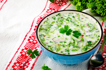 Traditional Slavic cold summer soup okroshka, dietary and vegetarian