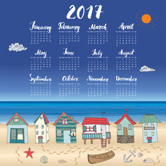 Calendar 2017 Year One Sheet, Vector Hand Drawn Beach Huts and Month Lettering, Week Starts Sunday.