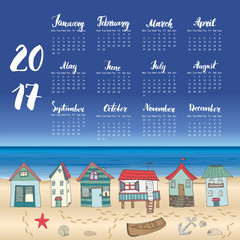 Calendar 2017 Year One Sheet, Vector Hand Drawn Beach Huts and Month Lettering, Week Starts Monday.
