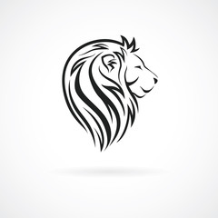 Lion head, vector logo design template, concept icon for logotype, emblem, brand identity, vector illustration