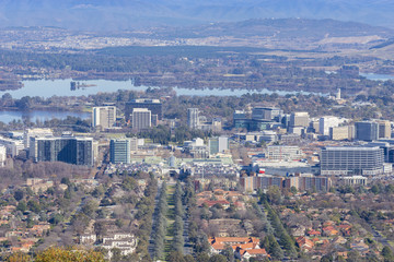 Aerial view of downtown Canberra, Australia