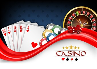 Background red white poker cards, casino chips and roulette wheel