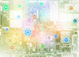 wired schematic symbol icons on electric circuit board, abstract image visual