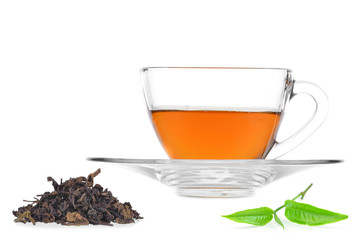 Glass cup of black tea isolated on white background