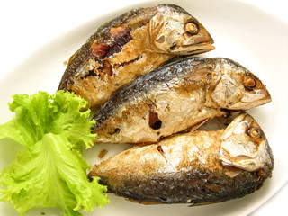 three fried mackerel put in the dish at kitchen of restaurant