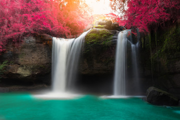 Printed roller blinds Waterfalls Amazing beautiful waterfalls in autumn forest at Haew Suwat Waterfall in Khao Yai National Park, Thailand