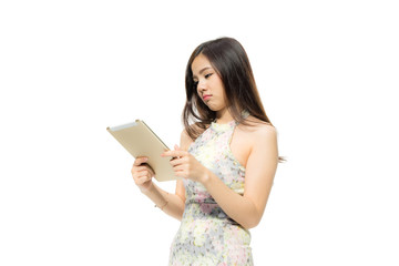 Portrait of attractive Beautiful Young Asian women using a tablet with stress and concentrate. Female model isolated on white background.