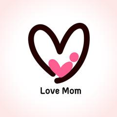 Mother love icon, baby in heart shape logo design. Vector illustration.