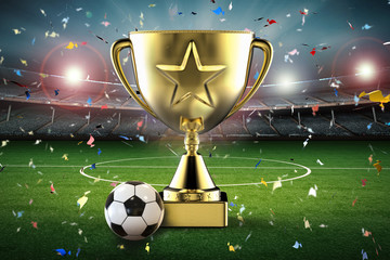 gold star trophy and soccer ball with soccer stadium and confetti background