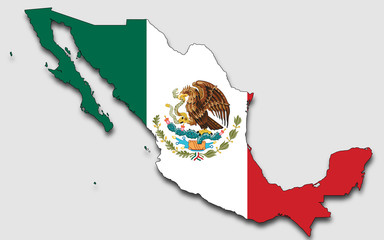 Map of Mexico, Filled With The National Flag