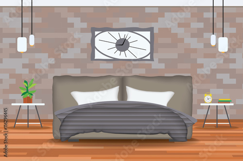 Front Elevation Beds : Quot loft style interior design vector illustration bed in