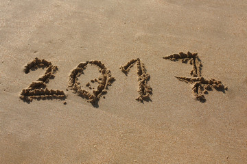 Happy New Year 2017 On Sand.