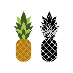 Two pineapples icons in color and black and white versions