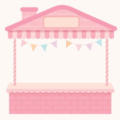 Illustration pink cute empty house booth and kiosk for shop.