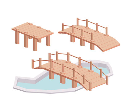 bridge wood isometric  isolated icon design, vector illustration  graphic