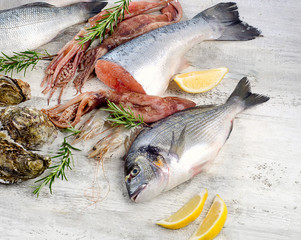 Fresh raw seafood. Healthy diet eating.
