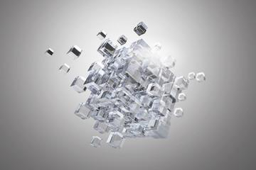 High tech cube figure . Mixed media