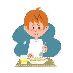 子供の孤食インスタント食品を食べる子ども