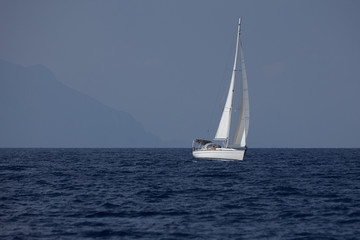 The white sails of yachts on the background of sea and sky