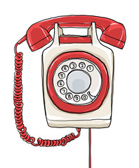 vintage Telephone wall hand drawn art painting illustration