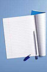 School notebook and pen