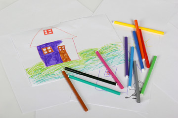 Kid's picture with a house