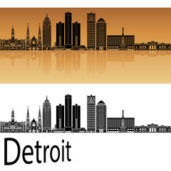 Detroit skyline in orange