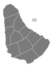 Barbados regions Map grey