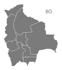 Bolivia departments Map grey