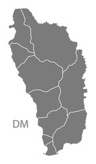 Dominica with parishes Map grey