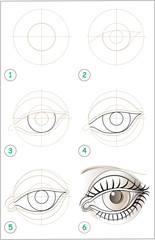 Page shows how to learn step by step to draw an eye. Developing skills for drawing. Vector image.