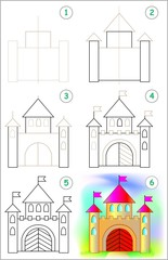 Page shows how to learn step by step to draw a caste. Developing children skills for drawing and coloring. Vector image.