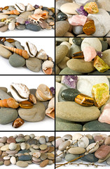 Isolated image of many stones and sea shells on a white background