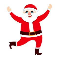 Big happy fat Santa Claus jumping and dancing on Christmas day