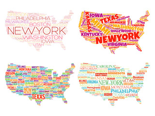Set of 4 Infographic USA Maps word cloud collage with most important cities in Typography