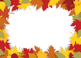 Autumn leaves decorative frame. Beautiful autumn leaves frame with yellow and red leaves. Place for your image or text. Vector available.