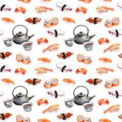 Sushi and tea design. Seamless pattern. Watercolor