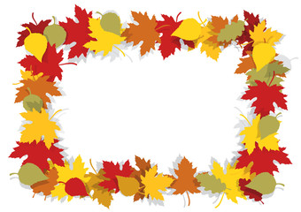 Autumn leaves decorative frame.