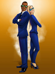 Male and Female Elegantly Dressed in Blue Secret Agents