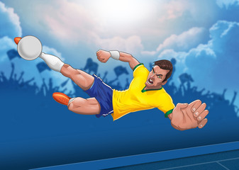 Determined Football Player Executes  Horizontal Air Borne Scisso