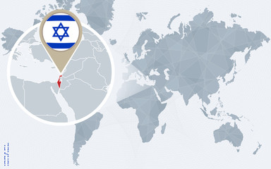 Abstract blue world map with magnified Israel.
